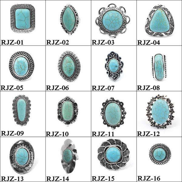top popular High quality turquoise Rings 112 styles vintage Turquoise Natural Stone Rings Fashion Costume Gemstone Female&male Ring Jewelry Free Size 2019