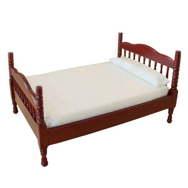 wholesale Mini Red Wooden Double Bed for 1:12 Doll House Furniture Accessories