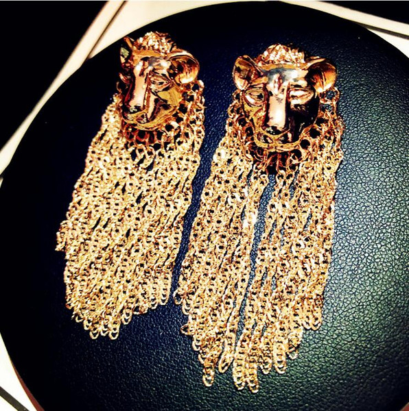 Nouvelle personnalité exagérée boucles d'oreilles tête de lion tempérament féminin mode longue chaîne pendentif pompon boucles d'oreilles livraison rapide