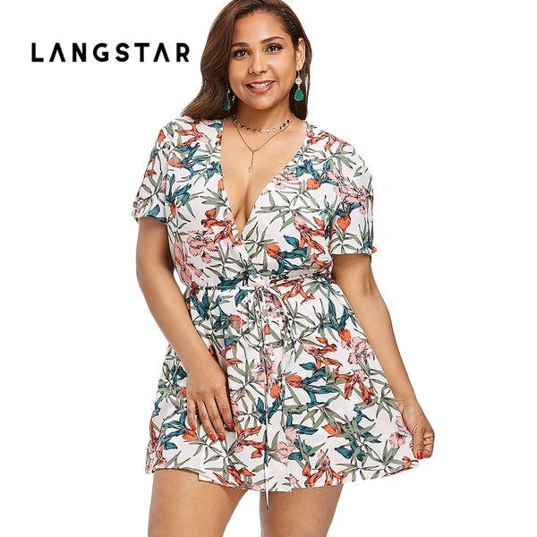 Women Short Rompers 2018 Printing Flower V Neck Jumpsuit Plus Size 5XL Tie Waist Casual Summer Romper Sexy Deep Women Jumpsuits