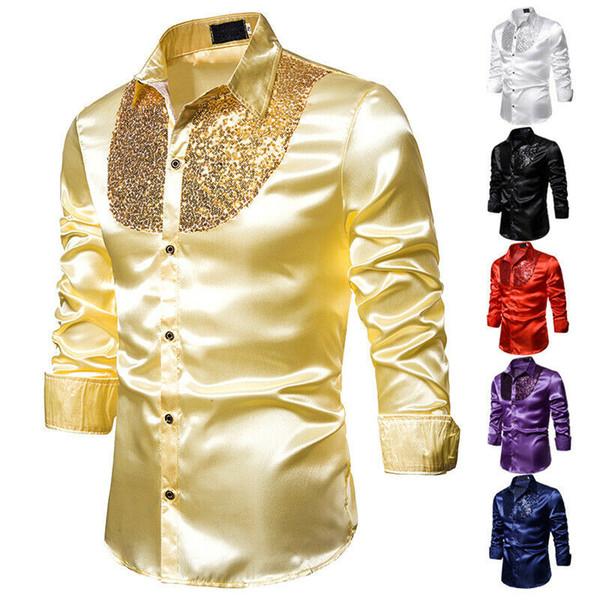 2020 Brand New Men Shirts Sequins Mens Slim Fit Shirts Solid Quality Fashion Tops Formal Satin Shiny Silk Men's Dress