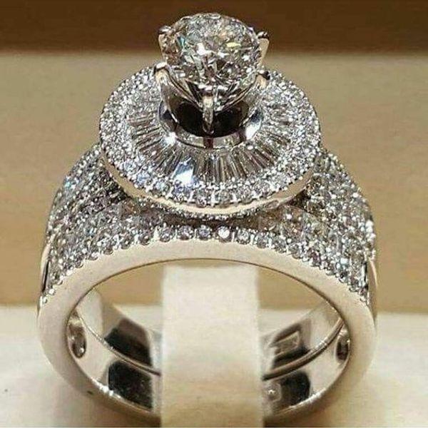 2 шт./компл. роскошные изысканные кольца ювелирные изделия твердые ювелирные изделия женщины кольцо природный Циркон драгоценные камни камень годовщина партии размер 6-10 397