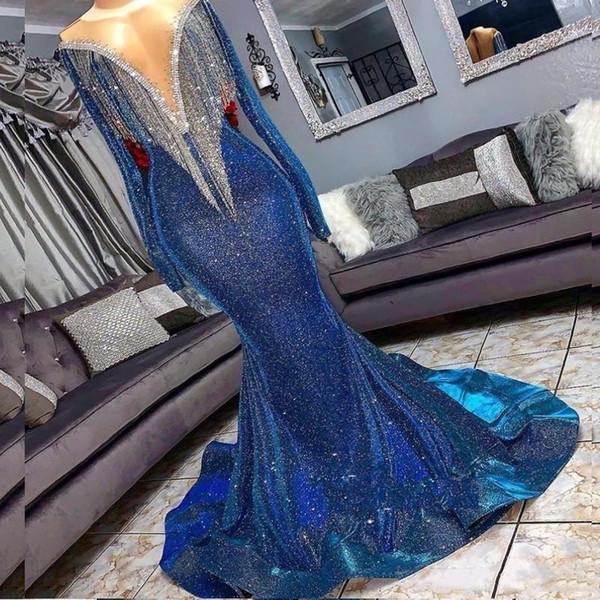 2019 lentejuelas sirena azul vestidos de baile cuentas cuello transparente mangas largas vestidos de noche con borlas tren de barrido formal vestido de fiesta de baile