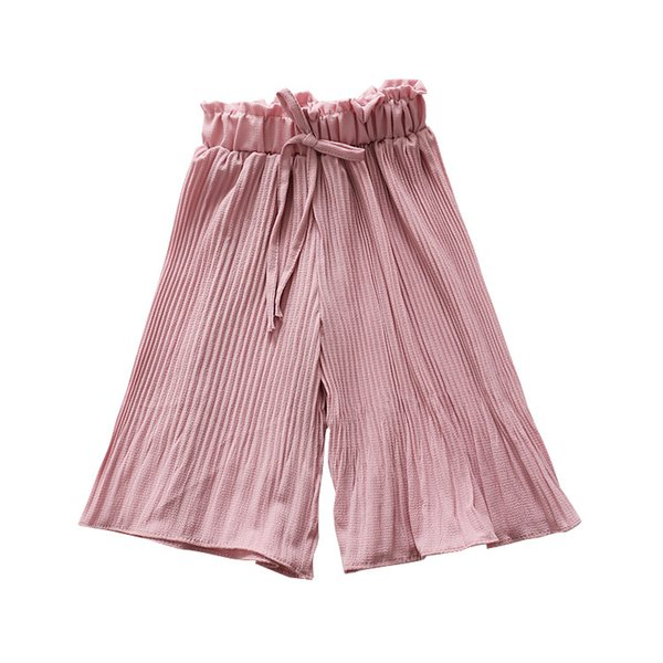 Girls Chiffon Pleated Wide Leg Long Pants Summer 2019 Kids Boutique Clothing 1-6T Little Girls Solid Color Beach Trousers