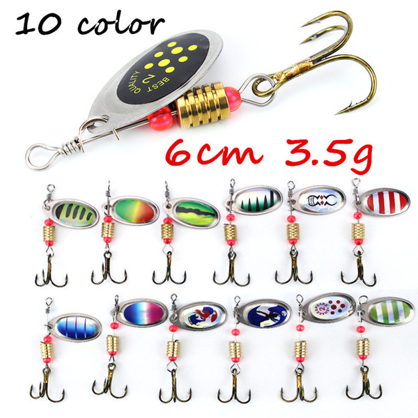best selling 1pc 10 Colors Mixed 6cm 3.5g Spinner Metal Baits & Lures 6# Fishing Hooks BL_49