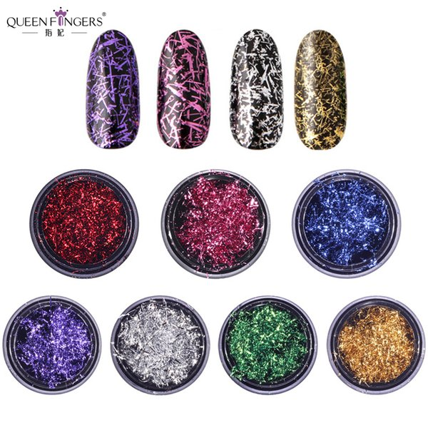 QUEEN FINGERS 7 Colors Nail Art Wire Flakes 0.2g Foil Sticker Strip Gold Purple Silver Nail Decoration Decal