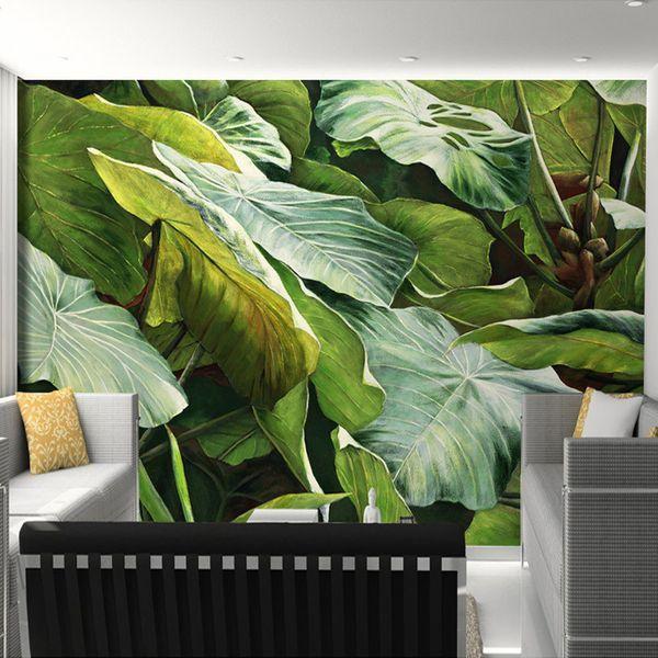 Southeast Asian Style Tropical Rainforest Green Leaves Photo Wallpaper Kitchen Living Room Restaurant Modern Simple Home Decor