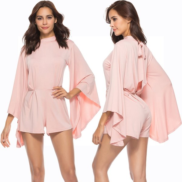 2019 Sexy Long Batwing Sleeve playsuit Women Backless Club Party Pink Jumpsuit Romper Tunic Slim Overall Outfit Macacao Shorts YD3307