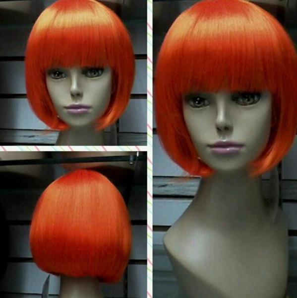 Parrucca di moda da trasporto WIG Parrucche di capelli naturali Orange short da donna sexy
