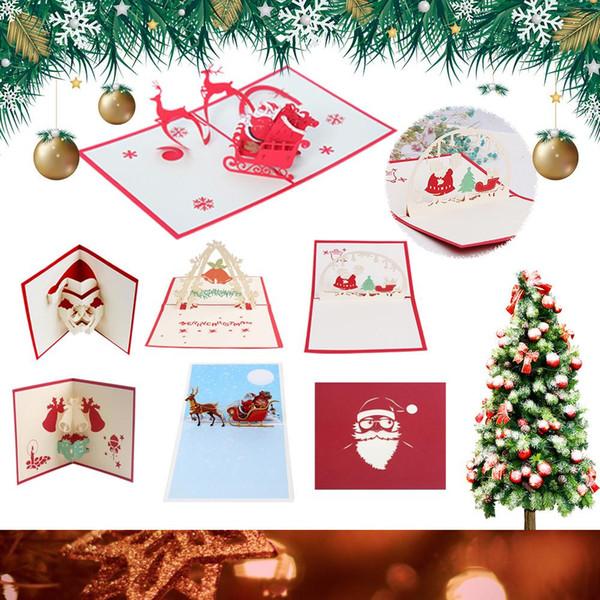 Cartão de Natal 3D Tridimensional Oco Cartão de Natal Escultura De Papel Artesanal Cumprimento DIY Decoração de Presente