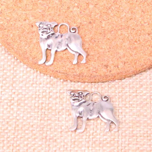 Risultati del braccialetto del braccialetto della collana di DIY del pendente di fascino del pug del cane del nastro antico 95pcs 20 * 22mm