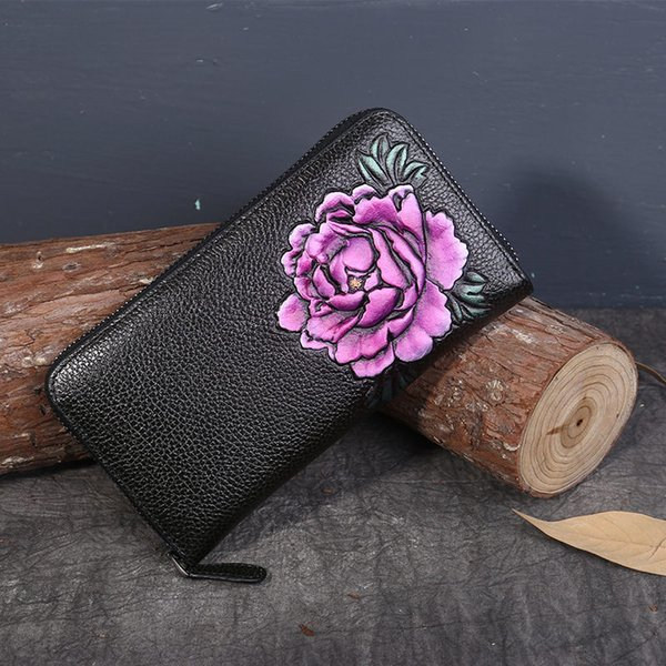Chinese Style Peony Long Lady Purses Women Wallets Female New Luxury Phone Tassel Coin Pocket Designer Full-Grain Leather Card Holder
