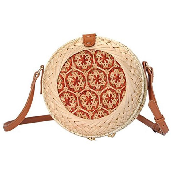 Straw Woven Bag For Girl Women,Handmade Rattan Woven Straw Handbag Beach Bag Picnic Shoulder