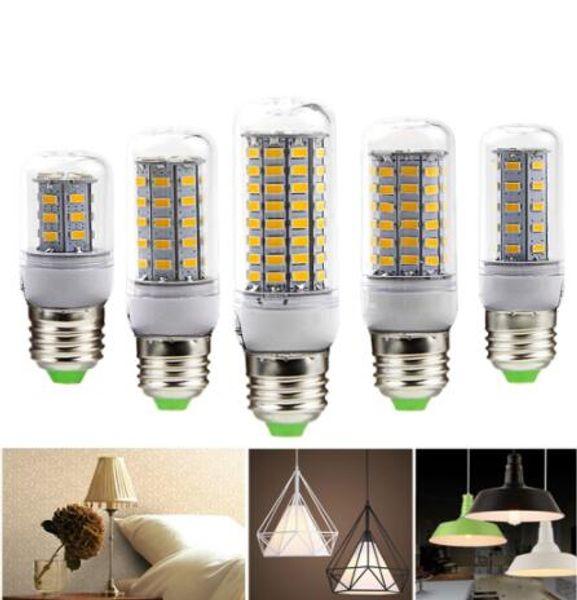 top popular LED lamp Bulb E27 E14 Candle Light Bombillas 220V SMD 5730 Home Decoration Lamp for Chandelier Spotlight 24 36 48 56 69 106LEDs 2021