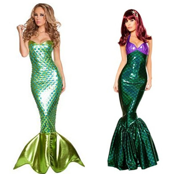 Saia Rabo Dia das Bruxas Cosplay Adulto Cosplay Mermaid Princess Dress Sexy Enrole Peito Mermaid Para as mulheres 5 cores