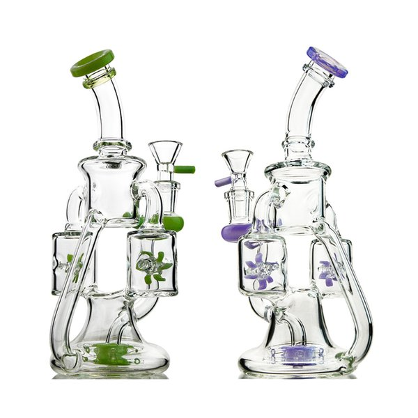 14mm Female Propeller Percolater Water Pipes Glass Bongs Double Recycler Dab Rig Dab Rigs Showerhead Perc Oil Rigs 4mm Thickness Water Bong