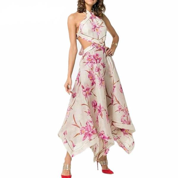 Pasarela de lujo de alta calidad de las mujeres atractivas fuera del hombro vestido de fiesta del halter ahueca hacia fuera la cintura alta sin espalda de impresión maxi vestidos