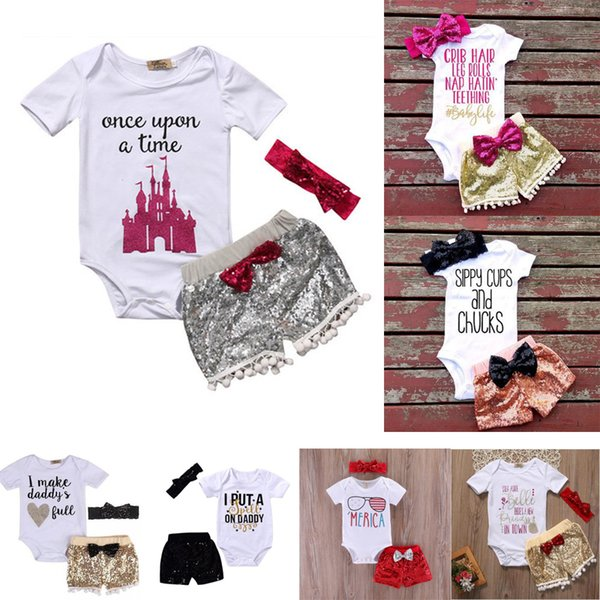 Toddler girl INS letters rompers suit baby Children Short sleeve triangle rompers+paillette shorts+bowknot Hair band 3pcs sets clothes