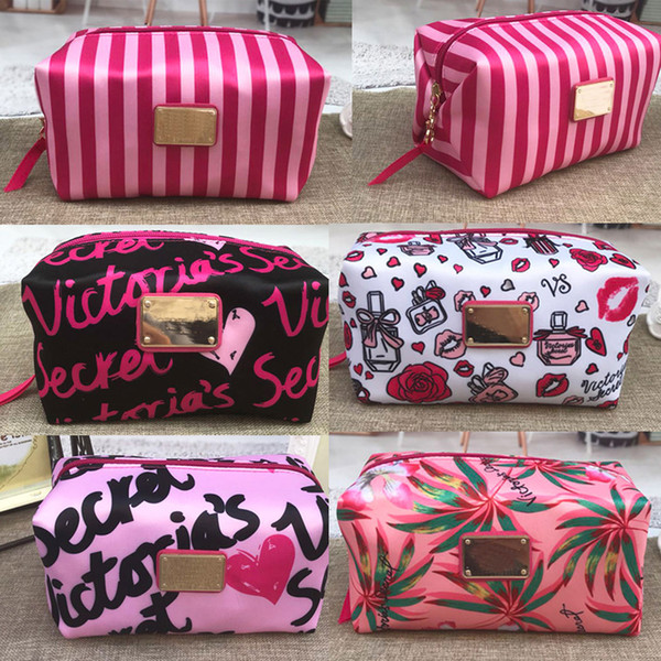 Pink print large capacity makeup bag cosmetic bags travel storage organizer toiletry bag
