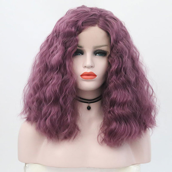 Purple Bouncy Curly Short Bob Synthetic Lace Front Wig Glueless Heat Resistant Fiber Hair Side Parting For White Women