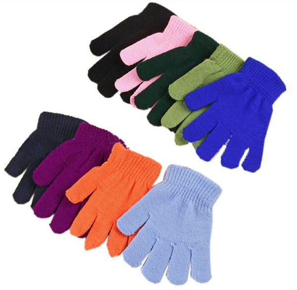 Children Winter Gloves Boys Girls Magic Kintted Finger Glove Kids Warm knit Mittens Solid Candy Color Gloves Students Outdoor Glove 18 Color