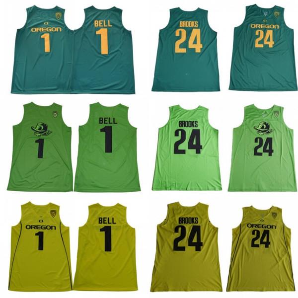 2019 Hommes Bolts # 1 College Jersey de Bolton de l'Oregon Bol 1 Bell 24 Dillon Brooks Vert Chemises Surpiquées
