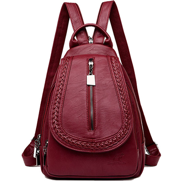 Women Leather Backpacks Classic Female Chest Bag Sac A Dos Travel Ladies Bagpack Mochilas School Bags For Trrnage Girls Preppy Y19051405