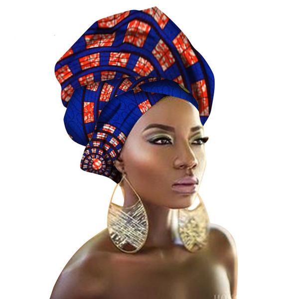 Cabeza de África las mujeres Wraps tradicional abrigo de la cabeza el pañuelo bufanda pañuelo turbante de Dashiki Cera Tela 100% algodón 90 * 100cm