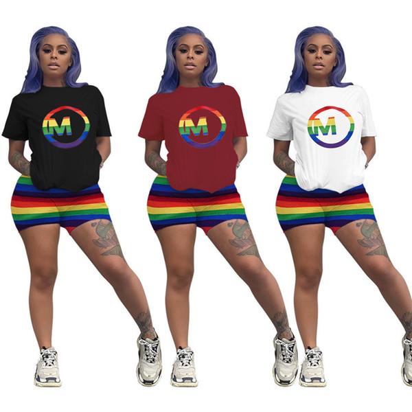 Радуга полосы женщин из двух частей наряд Марка M письмо с коротким рукавом футболка + шорты дизайнер спортивный костюм спортивная одежда Бегун набор C61906