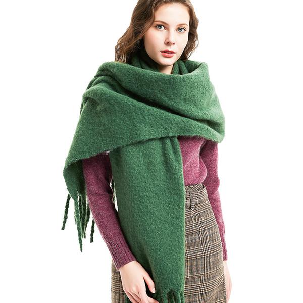 Automne et hiver nouvel anneau pompon épais châle de sable écharpe couleur unie dame épaissie châle foulard