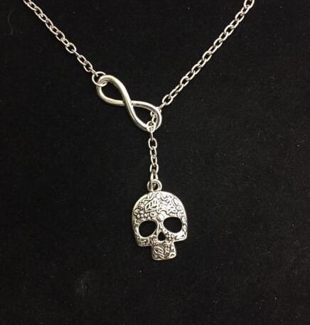 Infinity Lariat Gothic Skull Mask Balance Scales Globe Believe Love Toothpaste Sea Turtle Necklaces Pendants Vintage Silver Choker Jewelry