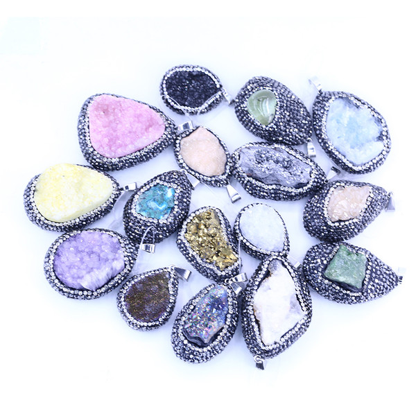 Natural Stone Edge Rhienstone Druzy Ciondolo LGMJY-001