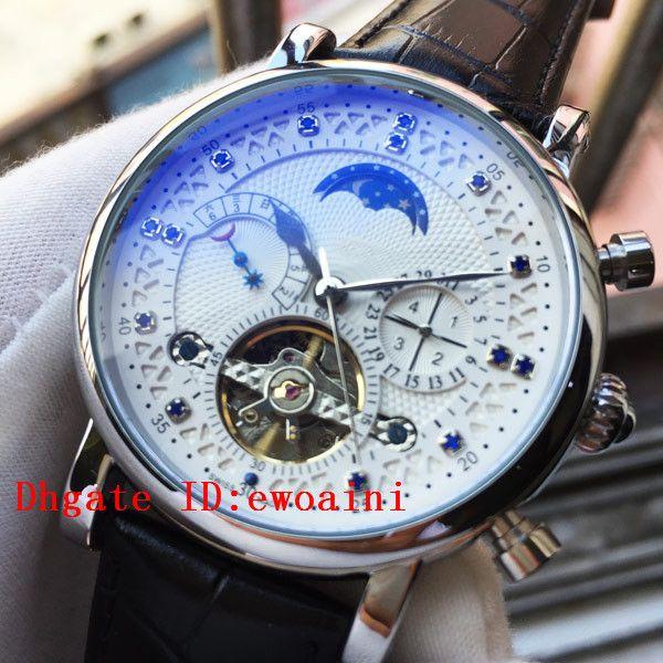 Reloj de la marca superior Relojes suizos de regalo Reloj de cuero negro Mecánico automático Cuerda manual MoonPhase Relojes para hombre Relojes de diamantes azules Calenda