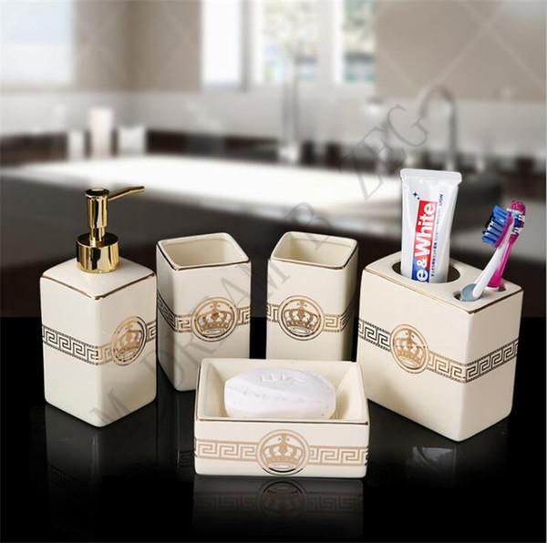5pcs / set Accessoires de salle de bain en céramique élégante 5 Pièces de bain Ensembles 1 bouteille de savon + 1 savon + 1Toothbrush Holder + 2 Coupes