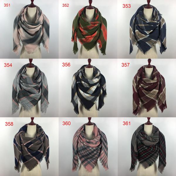 top popular 200 colors Winter New Tartan Scarf Plaid Blanket Scarf 140x140cm New Designer Unisex Acrylic Basic Shawls Women's Scarves Big Size pashmina 2020