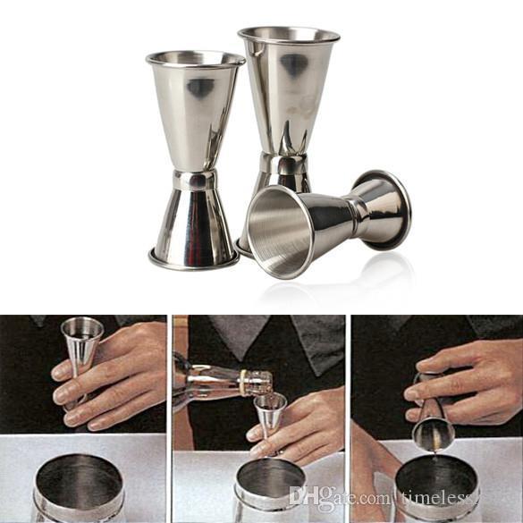 Cóctel de acero inoxidable Mezclador de bebidas Taza de medición Jigger de dos extremos Conjunto de medidor Herramientas de barra Vertidores de vino Envío gratis