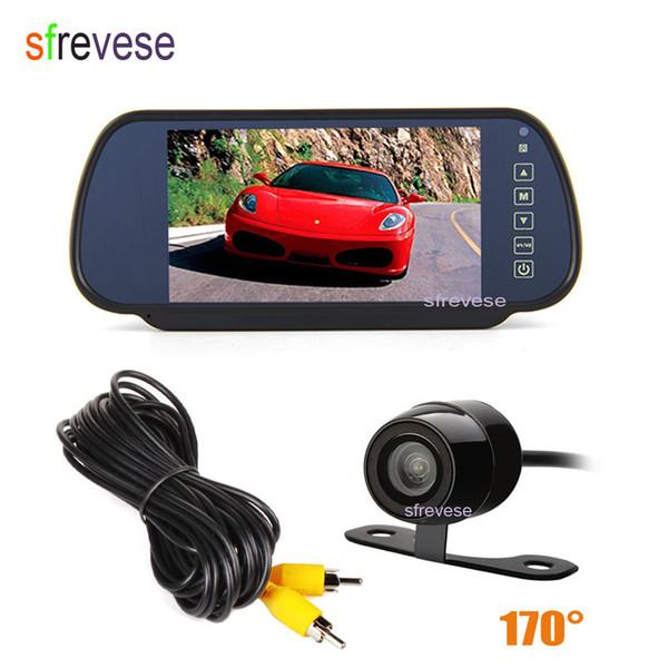 "7"" Car LCD TFT Monitor Mirror + Mini Waterproof Car Vehicle Rearview Reverse Parking Backup Camera Rear view Kit 170 Degree"