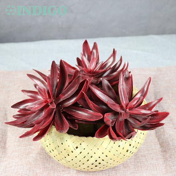 INDIGO- Priorità bassa di plastica della decorazione della parete del fiore della pianta succulente artificiale rossa del loto della neve del deserto di grande formato