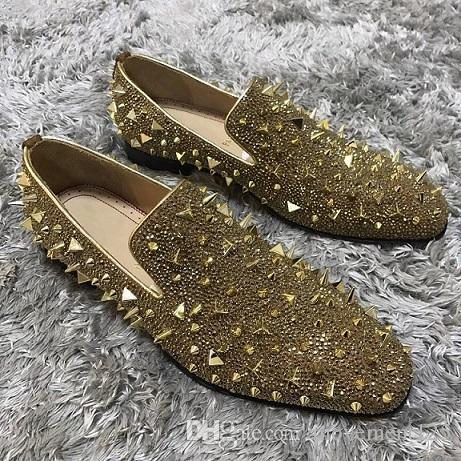 Black,Gold Genuine Leather Gentleman Wedding Dress With Strass + Pik Pik Spikes Mens Red Bottom Luxury Loafers Sneakers Flats EU35-47