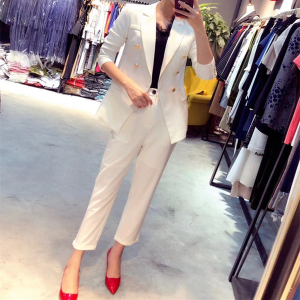 Customized new hot autumn fashion double-breasted handsome high-end suit OL temperament long-sleeved two-piece (coat + pants) female