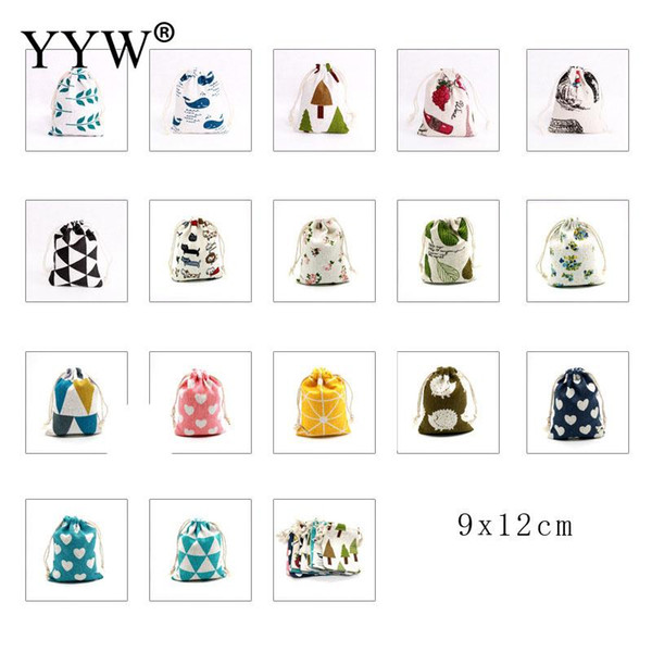 100pcs/Lot 9*12cm Handmade Drawstring Cotton Linen Storage Bag Tea/Candy/Jewelry Organizer Makeup Cosmetic Coins Small Cloth Bag