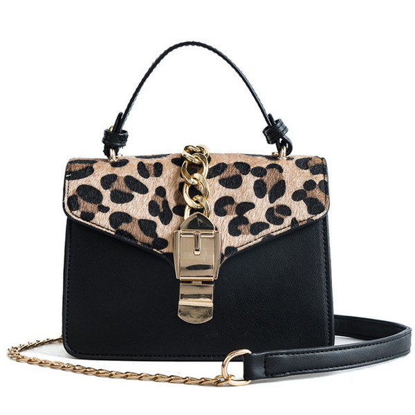 Leopard Print Women Handbag Lock Chains Women Messenger Bag Fashion Small Girls Flap Bags Winter Plush Females Crossbody Bag New