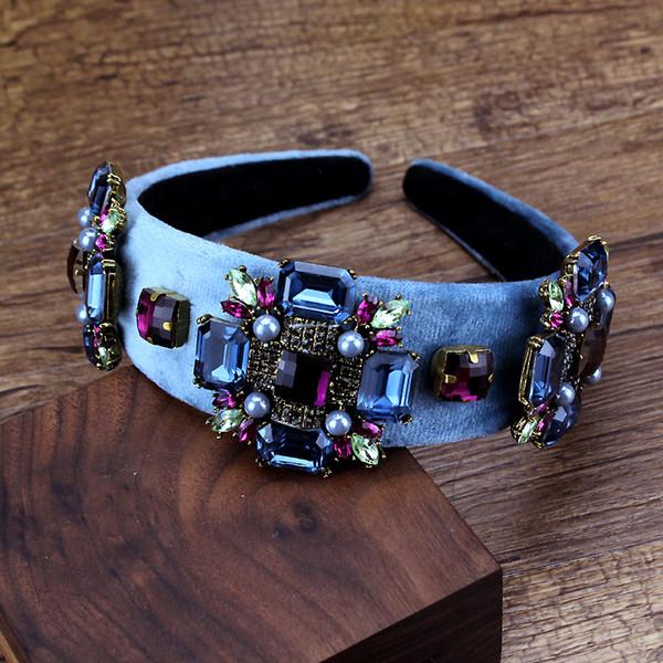 Accessori per capelli da donna vintage Fasce da sposa in pietra di cristallo viola e blu Strass Perla Barocco Hairband per matrimonio