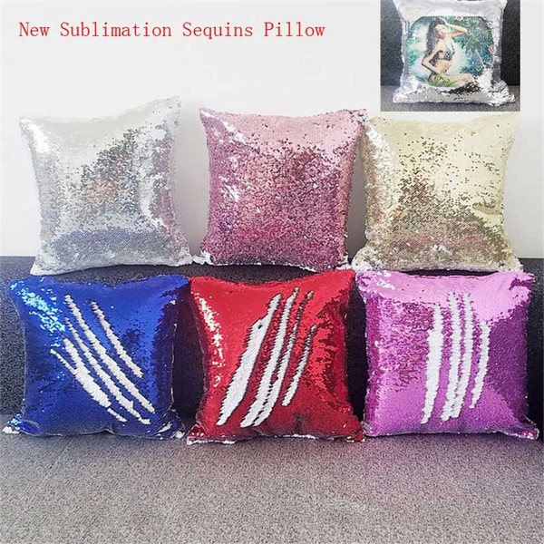 top popular New sublimation magic sequins blank pillow cases hot transfer printing DIY personalized customized gifts wholesales 6colours 40*40CM 2019