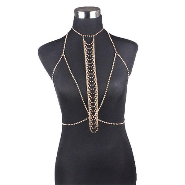 Mujeres Club Nocturno Partido Cadena Cadena Joyería Bikini Cintura Oro Belly Beach Arnés Collar Esclavo # 8