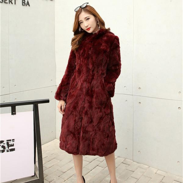 X-long 110 cm Natural Rex Fur Coats Outerwear Women Stand Collar Full Sleeve Real Fur Jacket 2018 Autumn Winter Plus Size