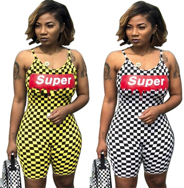 Super Letters Women Designer Jumpsuits Rompers One Piece Plaid Bodysuit Summer Shorts Tracksuit Beachwear Overalls Party Club Cloth C61709