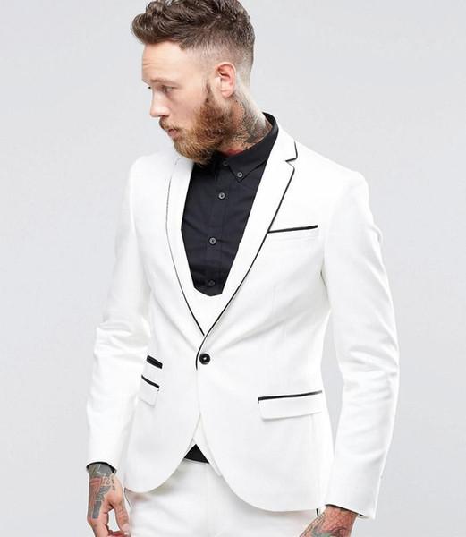 White two-piece men's fashion suit (coat + pants) men's new Lang swallowtail dress party slim suit