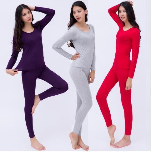 - women's trousers solid slim modal comfort women's body set winter thermal underwear large size xl-6xl thumbnail