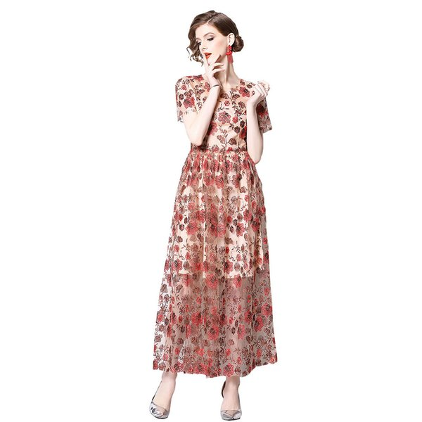 Heavy Floral Embroidered Woman Party Dress Summer New Short Sleeve A-line Long Dresses OL Elegant Dress Star Style Woman